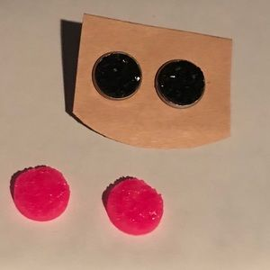 3/$20 Pink Druzy Stud Earrings with Silver Backing
